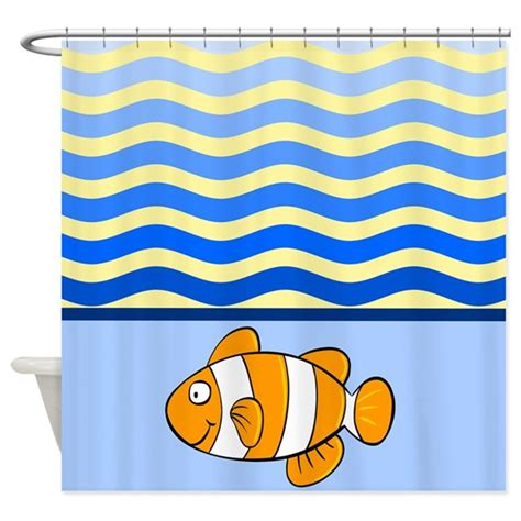 clown fish shower curtain cartoon clown fish with waves shower curtain by