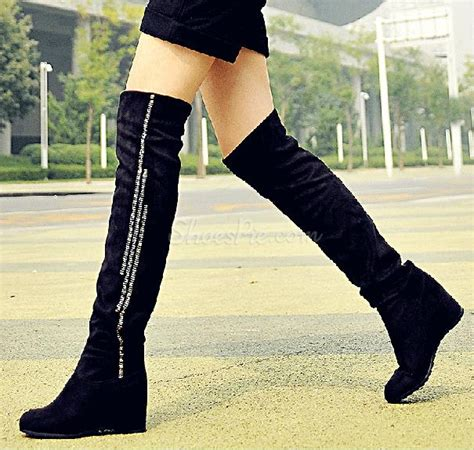cheap comfortable black suede flat heel knee high boots