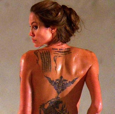 angelina shows off her new temporary tattoos for wanted