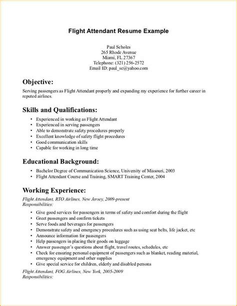 flight attendant resume sle with no experience 15 flight attendant cv no experience basic