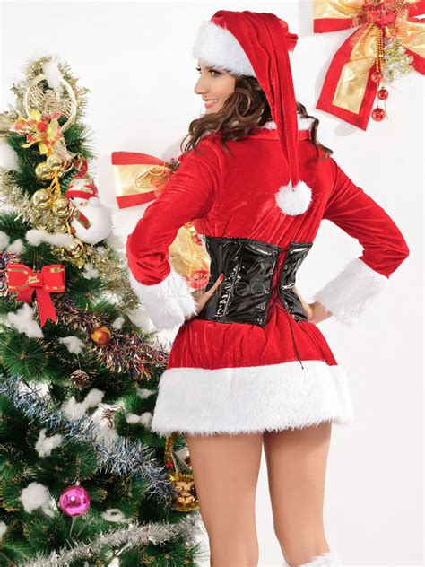 bedroom costume belted long sleeve cuffed velour sexy christmas bedroom