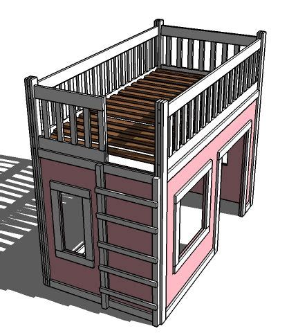 ana white floating bunk beds and desk diy projects playhouse loft bed easy ana white diy project sooo cute