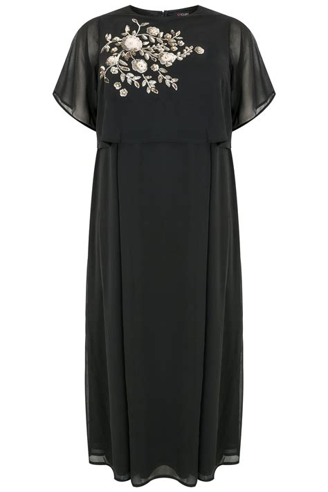 black chiffon maxi dress with cape back sequin floral