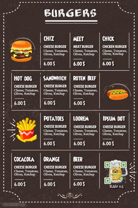 Menu Poster Template restaurant burger menu black leather background