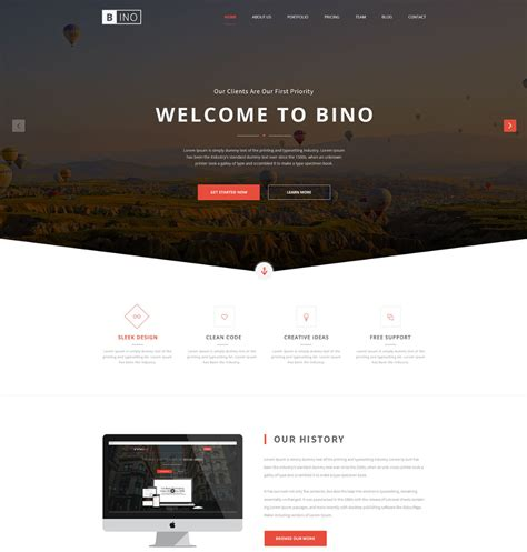 bino free landing page website template freebies fribly