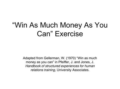 How Much Money Can You Win At The Casino - ppt win as much money as you can exercise powerpoint presentation id 424019