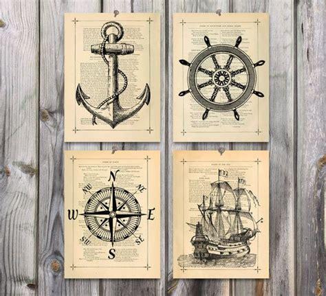 theme line vintage nautical art poster print set antique drawing illustration