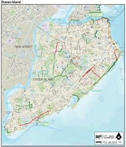 large detailed staten island new york bike map large