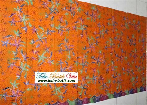 Pancawarna Cerah batik madura pancawarna orange kbm 3685 kain batik murah