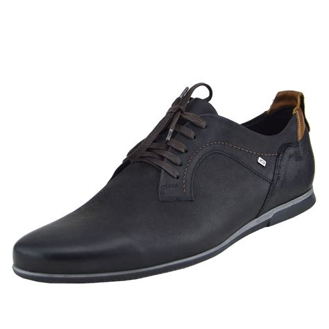 mens real leather smart formal lace up casual trainers