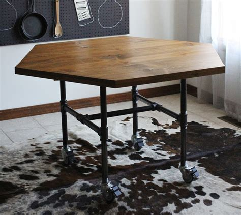 diy honeycomb table with industrial pipe legs a