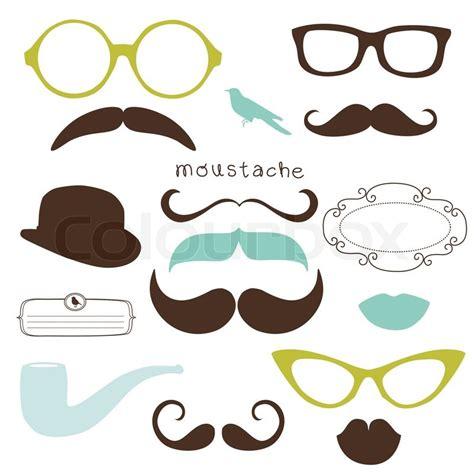 Gelang Decorated Moustache Shape Design Black retro set sunglasses mustaches stock vector colourbox