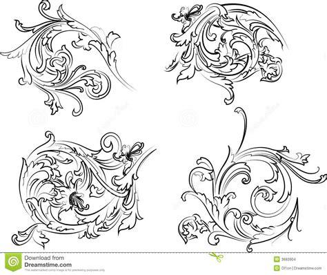 barok stijl bloemen de barokke stijl van de kalligrafie van de rozet vector