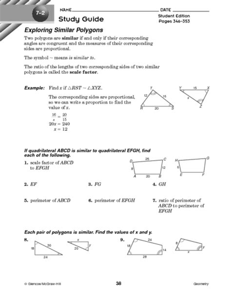 Similar Polygons Worksheet Answers by Printables Similar Polygons Worksheet Ronleyba