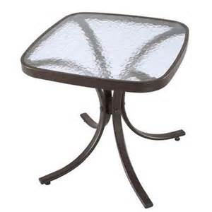 Hton Bay Patio Table Replacement Glass Hton Bay Navona 18 In Glass Patio Side Table Fts00499 The Home Depot