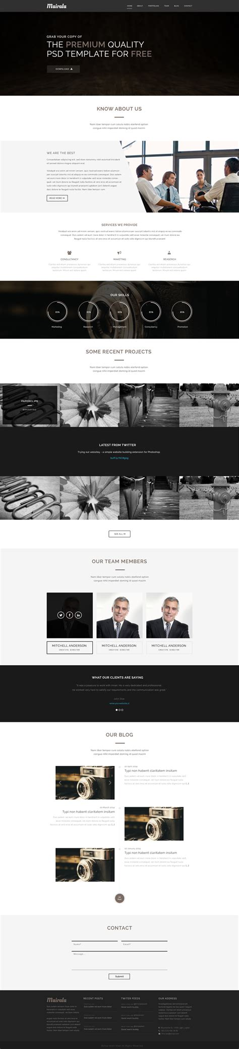 one page template free corporate one page website template