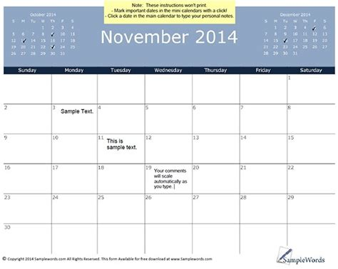 2014 November Calendar November 2014 Calendar Template