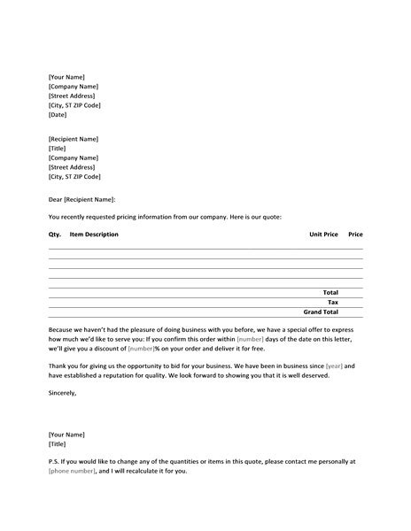 business letter sle quotation letter with sales price quote to new customer office