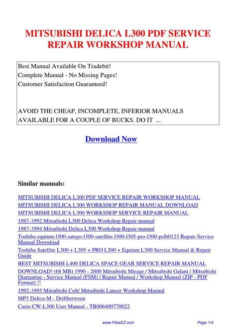 vehicle repair manual 1989 mitsubishi l300 user handbook mitsubishi delica l300 service repair workshop manual by yang rong issuu