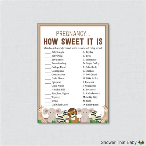 Baby Shower How Sweet It Is by Safari Baby Shower Pregnancy How Sweet It Is Printable