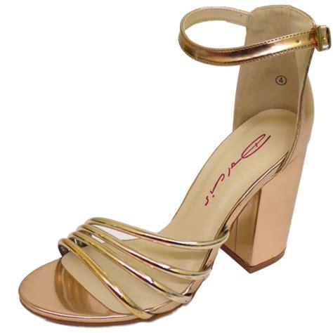 gold block heel sandals dolcis silver or gold block heel ankle peep