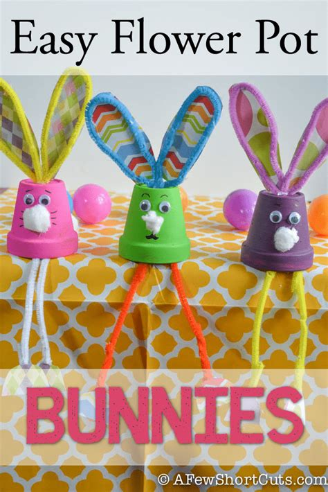easy flower pot bunnies kids craft a few shortcuts