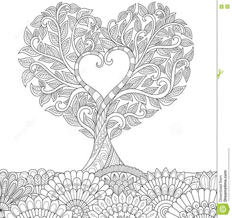 printable coloring pages hearts with vines love tree cartoon vector cartoondealer com 78659813