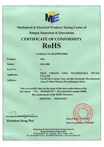 Rohs Compliance Certificate Template by Highest Electrical Certification