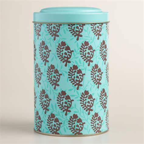 Tea Tin 1 large bhuti print tea tin world market