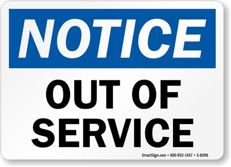 Out Of Order Signs Out Of Service Signs Out Of Service Sign Template