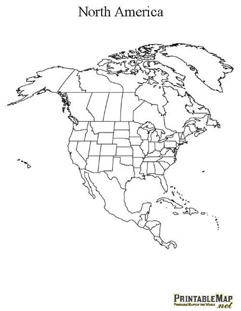 printable map  north america continent america map