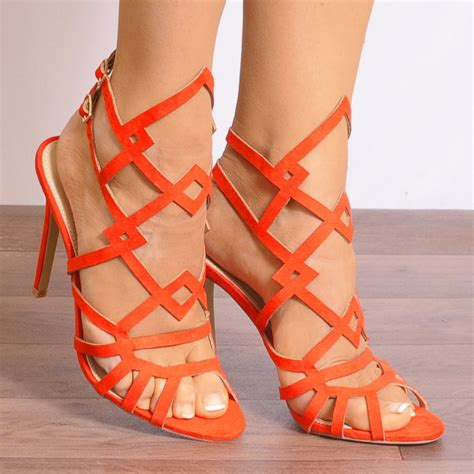 2 sandal heels shoe closet caprice 2 orange peep toes ankle