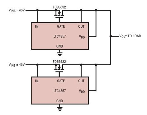 ideal diode or circuit solutions two load redundant 48v 10a power supplies using an ideal diode