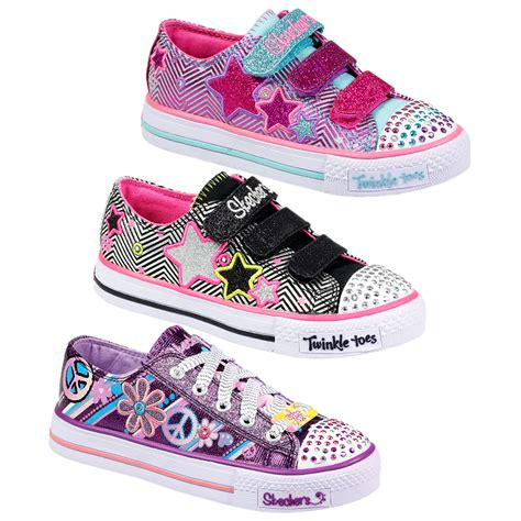 Kids Girls Skechers Velcro Lace Up Twinkle Toes Light Up