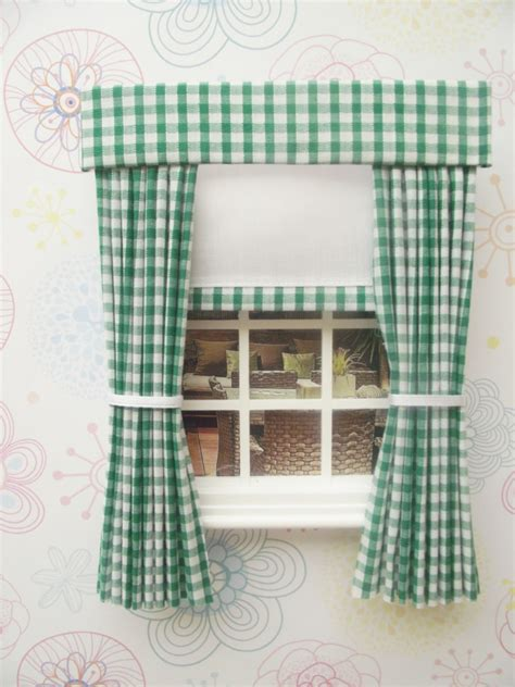 dolls house curtains miniature doll house curtains with pelmet and blind green gingham ebay