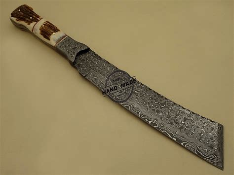 Handmade Knife - damascus bowie knife custom handmade damascus steel