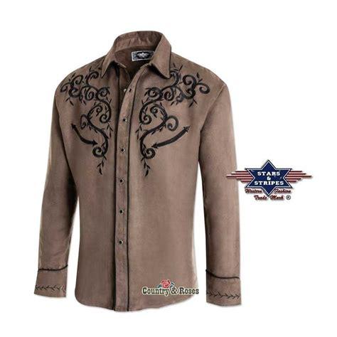 imagenes vaqueras para hombres elegante camisa marr 243 n estilo country bordados negros en