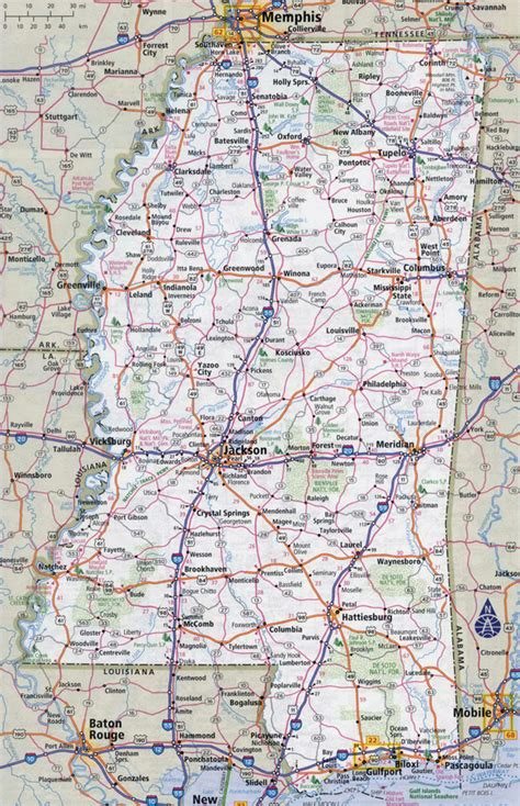 mississippi state map large detailed roads and highways map of mississippi state with cities vidiani maps of