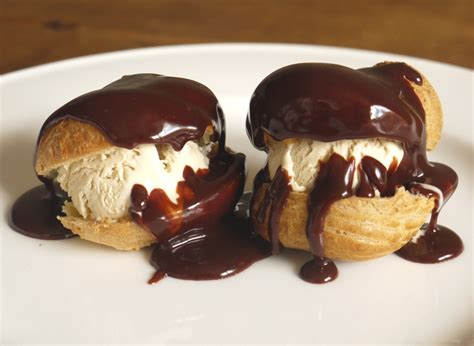 Homemade Kitchen Island Coffee Ice Cream Profiteroles With Chocolate Caramel