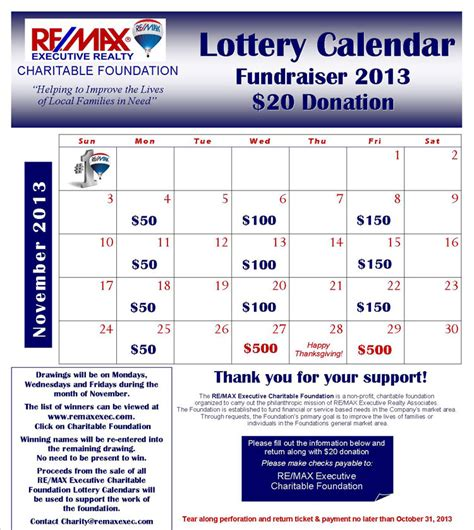 Re Max Executive Realty Nonprofit Fundraising Calendar Template
