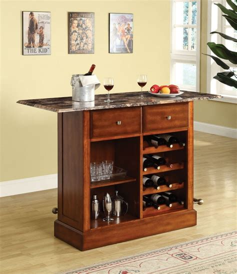 kitchen island upton cherry finish bar table w faux marble