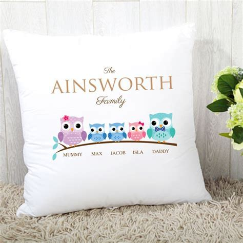 Personalised Owl Family of 5 Cushion   2 Boys 1 Girl