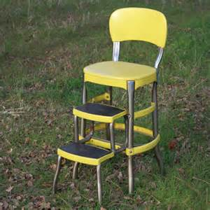 yellow chair with step stool forever vintage rentals