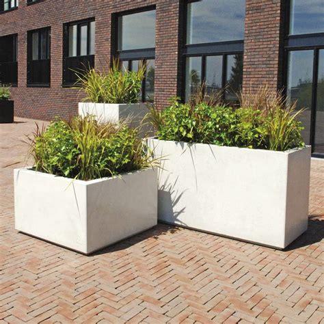 white outdoor planters modern white outdoor planters blox rectangular galvanized