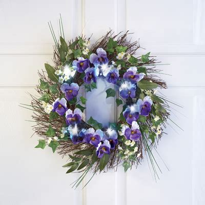 Lighted Floral Pansy Door Wreath From Collections Etc Lighted Door Wreaths For