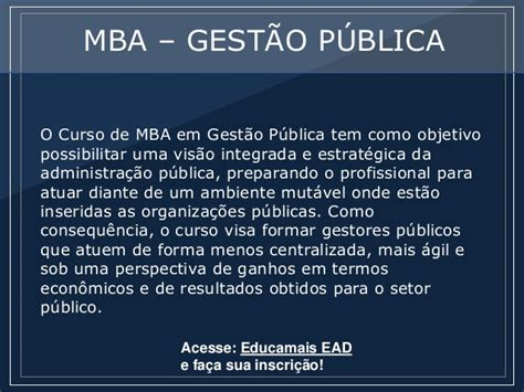 Mba Ead by Mba Gest 227 O P 250 Blica P 243 S Educa Ead