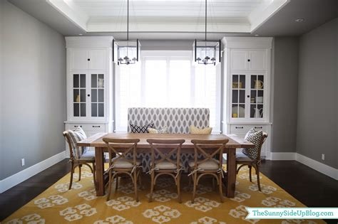 dining room decor update bench chairs pillows  sunny side  blog