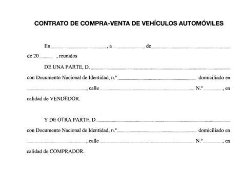 ejemplo contrato compra venta coche segunda mano d 243 nde conseguir impreso de contrato de compraventa