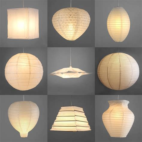 Paper Pendant Lights Pair Of Modern Paper Ceiling Pendant Light L Shades Lanterns Lshades White Ebay
