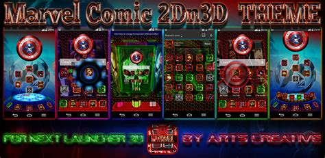 Theme Line Android Marvel | next launcher 3d theme marvel comic 2dn3d by